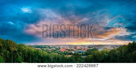 Vilnius, Lithuania. Panorama Of Old Town Historic Center Cityscape Under Dramatic Sky In Summer Sunset. Destination Scenic. UNESCO World Heritage. Famous And Popular Place In Evening Time