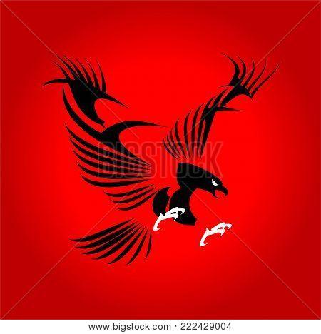 Stylized flying Black eagle on red background.
