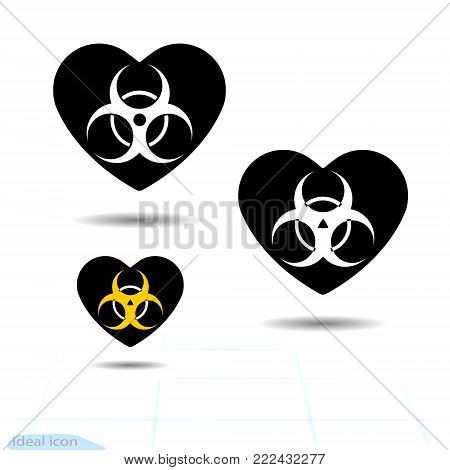 Heart icon. A symbol of love. Valentine s day with the sign of the Warning sign of virus. Biohazard icon. Vector illustration. Flat style for graphic and web design, logo. Adrenaline love.