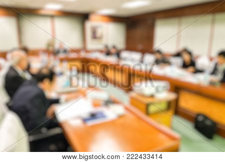 Blur CEO with board of directors,Conference and Presentation in the meeting room,education concept,design for illustration and banner.