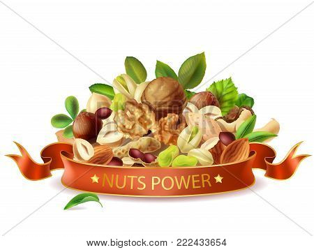 Vector Realistic Nuts Power Banner Template Isolated. Types Of Nuts Leaves Mix, Organic Product Pack