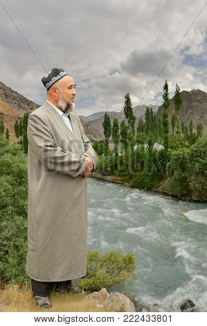 Portrait Of A Distinguished Citizen Of The Khatlon Region Of Tajikistan On The Background Of The Val