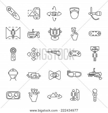 Virtual reality and accessories line icons set isolated on white background. Vector illustration with virtual reality, helmet, vr weapon, web icons in line style.