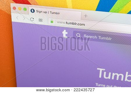Sankt-Petersburg, Russia, January 11, 2018:  Apple iMac with Tumblr homepage on monitor screen. Homepage of Tumblr.com on PC computer. Tumblr is microblogging and social networking service.