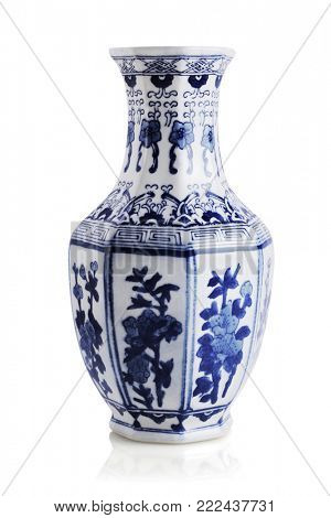 Chinese Floral Pattern Ceramic Vase on White Background