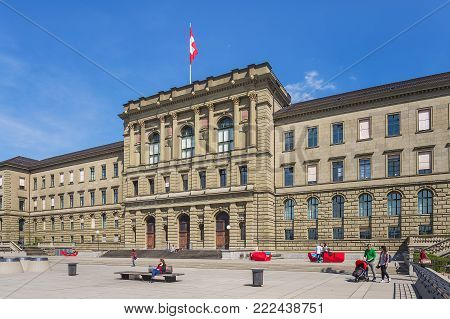 Zurich, Switzerland - 12 April, 2015: facade of the main building of the Swiss Federal Institute of Technology. The Swiss Federal Institute of Technology in Zurich is an engineering, science, technology, mathematics and management university.