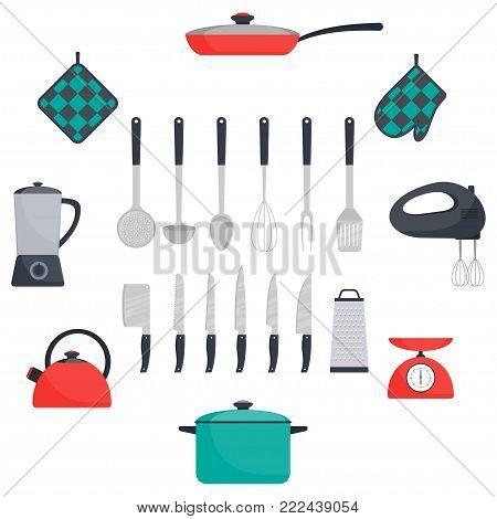 Kitchen Utensils And Appliances, Set. Frying Pan, Saucepan, Kettle, Mixer, Blender Scales, Oven Mitt