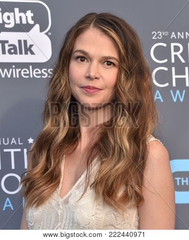 LOS ANGELES - JAN 11:  Sutton Foster arrives for the 23rd Annual Critics' Choice Awards on January 11, 2018 in Santa Monica, CA
