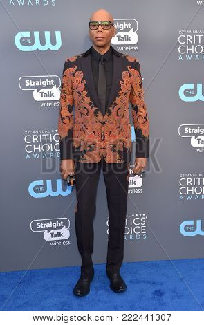 LOS ANGELES - JAN 11:  RuPaul arrives for the 23rd Annual Critics' Choice Awards on January 11, 2018 in Santa Monica, CA