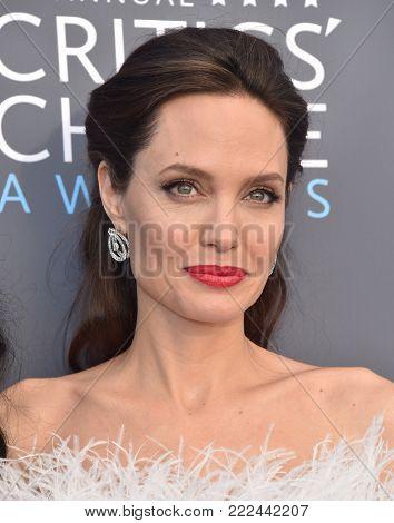 LOS ANGELES - JAN 11:  Angelina Jolie arrives for the 23rd Annual Critics' Choice Awards on January 11, 2018 in Santa Monica, CA