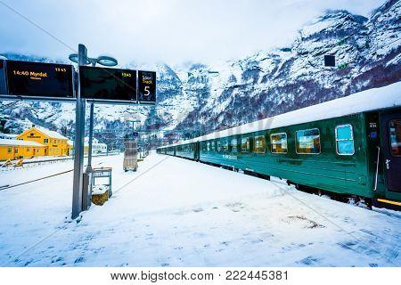 Flam, Norway - December 28, 2014: Station old Flam Railway. The Flam Line (Norwegian: Flamsbana) is a 20.2-kilometer long railway line between Myrdal and Flam in Aurland, Norway.