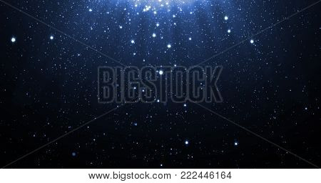 Blue glitter particles background with shining neon stars falling down and light flare or glare overlay effect above for luxury premium product design. backdrop. Magic light shine glow radiance poster