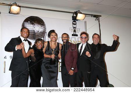 LOS ANGELES - JAN 15:  Naturi Naughton, Courtney Kemp Agboh, Omari Hardwick, Mark Canton, Randall Emmett at the 49th NAACP Image Awards at Pasadena Civic Center on January 15, 2018 in Pasadena, CA