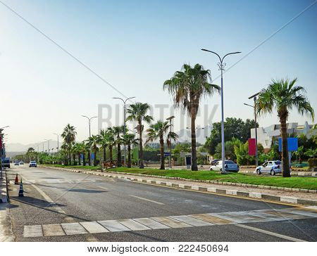 View of city roadway on sunny day