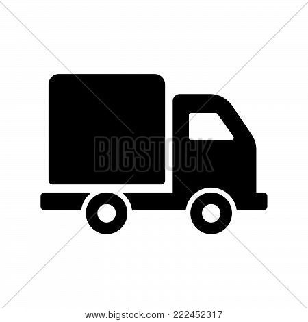 Delivery truck icon isolated on white background. Delivery truck icon modern symbol for graphic and web design. Delivery truck icon simple sign for logo, web, app, UI. Delivery truck icon flat vector illustration, EPS10.