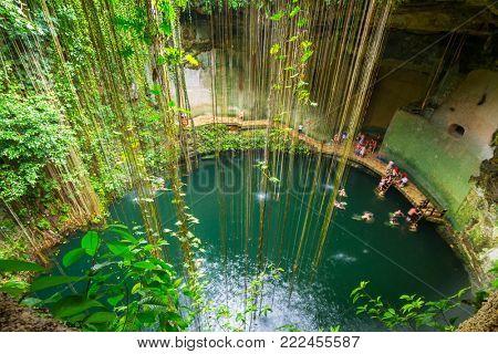 Ik-Kil Cenote near Chichen Itza in Mexico