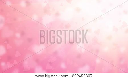 Valentine Hearts Abstract Pink Background. St. Valentine's Day Wallpaper. Beautiful Heart Holiday blurred Backdrop