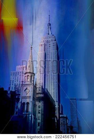 Marble Collegiate Church in New York City on blured blue abstract background.