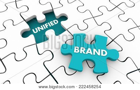 Unified Brand Puzzle Piece Total Branding Business Company 3d Illustration