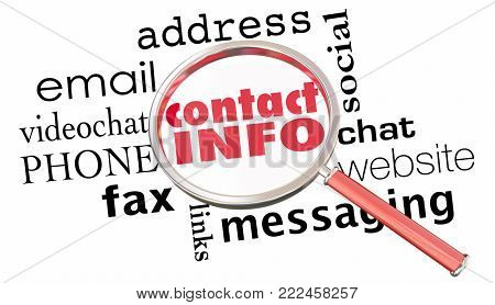 Contact Information Magnifying Glass Communication Methods 3d Illustration