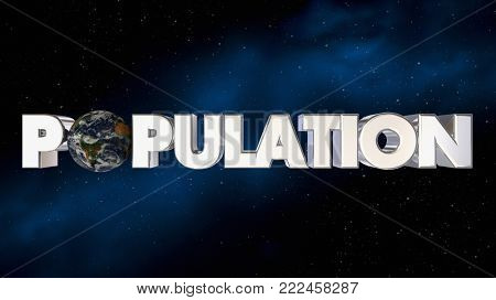 Population Growth Earth Planet World More People 3d Illustration