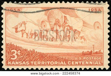 UNITED STATES OF AMERICA - CIRCA 1954: A stamp printed in USA shows Kansas Territorial Centennial, circa 1954
