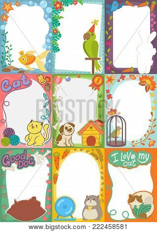 Frame kids photo vector picture of cartoon animals pets or birds on children photography border or kids photoframes template for baby photograph in childhood illustration set.