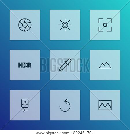 Photo icons line style set with center focus, shutter, filter and other broken image elements. Isolated vector illustration photo icons.