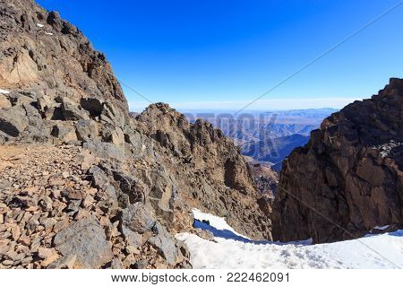 High Atlas Mountains. Walking Hiking Trail. Morocco, Winter. Wild Nature Landscape Of Toubcal.