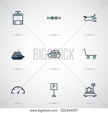 Delivery icons set with roadsign, safety belt, boat and other boat elements. Isolated  illustration delivery icons.