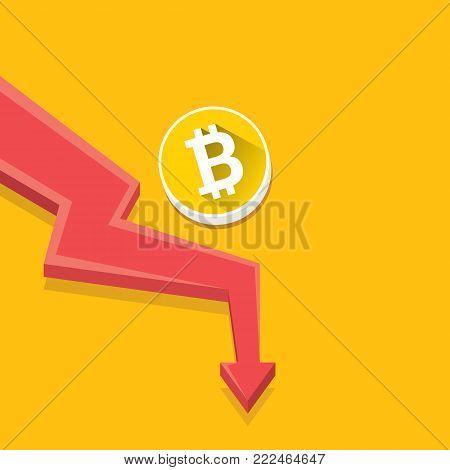 vector bitcoin market crash graph on orabge background. Bitcoin hype concept vector illusrtation with blank space fo text. depreciation of bitcoin