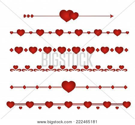 Border vector heart. Symbol valentines day. Set border wedding.