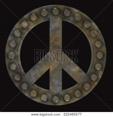 rusted riveted pacific symbol on black background - 3d illustration