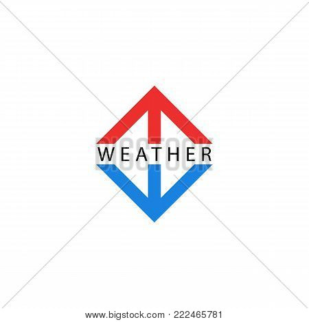 Arrows logo, pointing up and down, symbols of growth and fall indicators, red arrow hot, blue symbol cold temperature. Weather logotype.