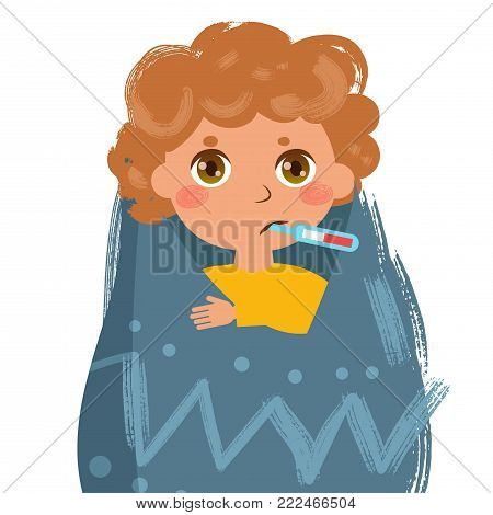 Boy sick. Thermometer a blanket temperature. Vector. Cartoon. Isolated art on white background. Flat