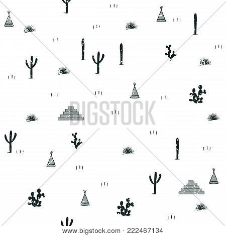 Pyramids, indian tents, saguaro, agaves, and opuntia cactuses on white background. Cute design for textile, wallpapers, kids industry. Vector illustration, hand drawn seamless pattern