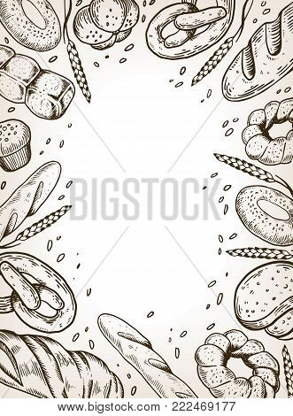 Bakery products background design engraving vector illustration. Brown aged background. Scratch board style imitation. Hand drawn image.