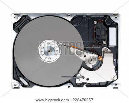 Computer hard disk drive (HDD) with opened cover isolated on white background. Top view, close up.