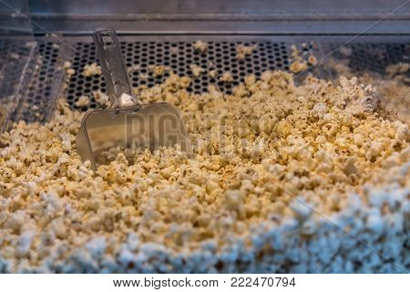 A closed up look through glass cabinet of salted butter popcorn and serving scoop in incubator machine at movie counter bar.