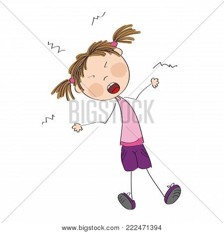 Angry naughty girl furious and yelling - original hand drawn illustration