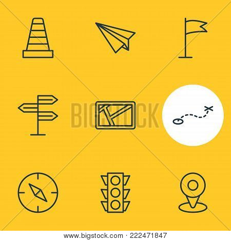Vector illustration of 9 navigation icons line style. Editable set of map, origami, guidepost and other elements.