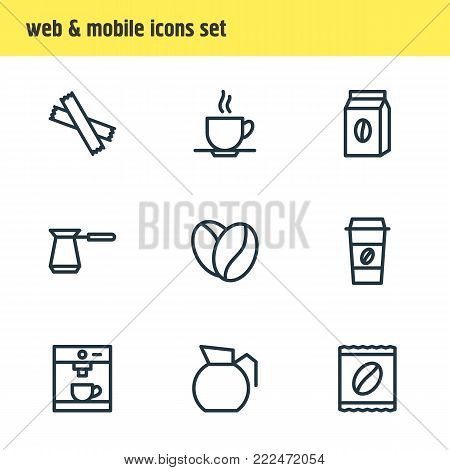 Vector illustration of 9 java icons line style. Editable set of package latte, turkish, decanter and other elements.