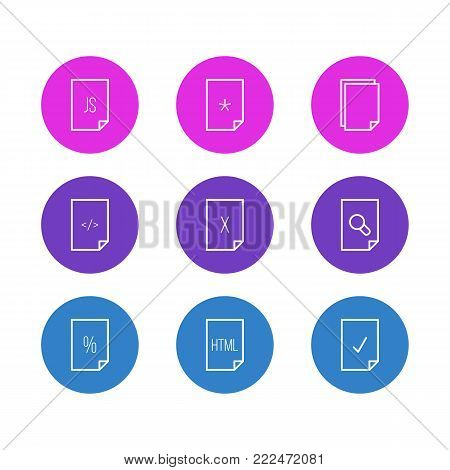 Vector illustration of 9 paper icons line style. Editable set of magnifier, HTML, delete and other elements.