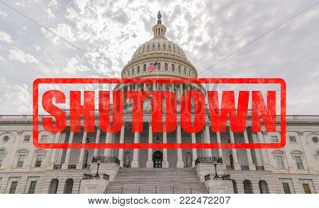 United States Capitol Building in Washington, DC with Shutdown stamp effect