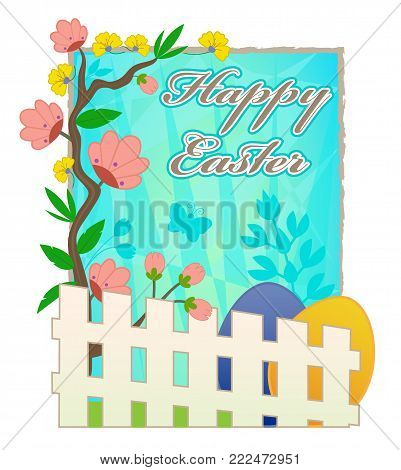 Happy Easter card with blooming flowers, picket fence and Easter eggs. Eps10