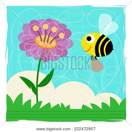 Cute spring clip-art of a bee and flower. Eps10