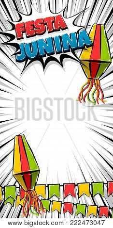 Festa Junina traditional June festival Latin America. Brazil village carnival. Vector color illustration background. Satin glossy comic text vertical pop art style. Glossy logo flashlight flags banner