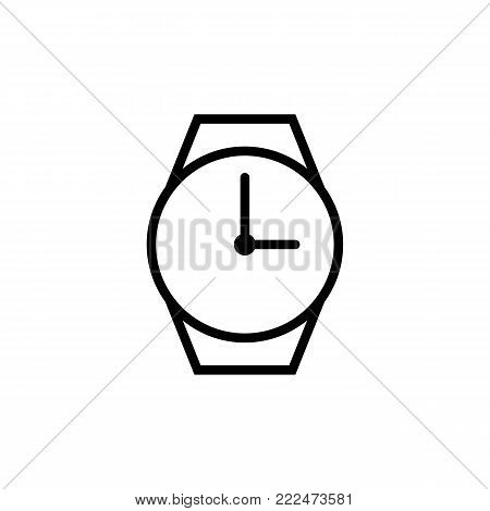 Wrist Watch Thin Line On White Background