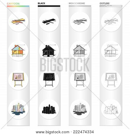 Drawing device, Kuhlman, city architecture, sketch of house, drawing accessories. Architecture set collection icons in cartoon black monochrome outline style vector symbol stock illustration .