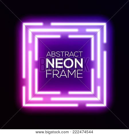 Gradient pink violet neon light abstract squares. Shining techno square frame. Night club electric luminous 3d box design on dark backdrop. Neon background with glow. Technology vector illustration.